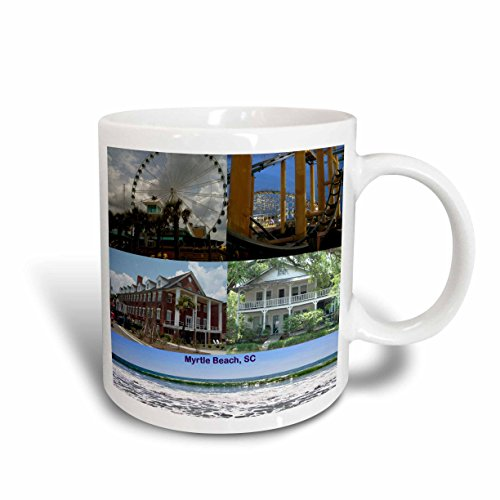 3dRose Myrtle Beach Buildings, Beach and Rides Collage Ceramic Mug, - Myrtle Beach Outlet