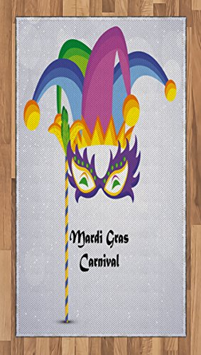 [Mardi Gras Area Rug by Ambesonne, Mardi Gras Carnival Inscription with Traditional Party Icons Clown Costume Hat, Flat Woven Accent Rug for Living Room Bedroom Dining Room, 2.6 x 5 FT, Multicolor] (Female 80's Icons Costume Ideas)