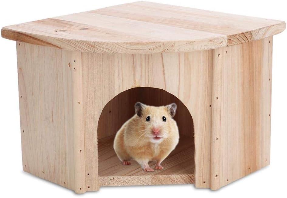 Pssopp Casa de hámster de Madera Estilo Europeo DIY Pequeño escondite de Animales Choza Hábitat de anidación Chinchilla Shelter House para Ratones y Otras Mascotas pequeñas