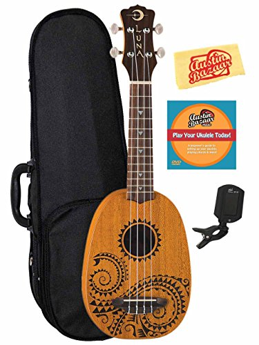 (Luna Tattoo Mahogany Soprano Pineapple Ukulele Bundle with Hard Case, Tuner, Austin Bazaar Instructional DVD, and Polishing Cloth)