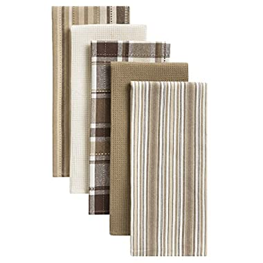 Oversized Kitchen Cotton Dish Drying Towels, Set of 5 Taupe, Brown, White 18 x 28 inches