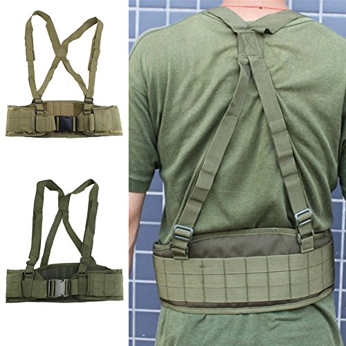 FAMI Tactical Battle Combat Airsoft Padded Equipment Molle Waist Belt with Adjustable Suspenders Free Straps for Patrol Army Training Outdoors Duty- Military Green