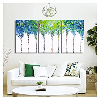 3 Piece Canvas Wall Art - Abstact Blue Trees - Oil Painting Style Modern Home Art - 24