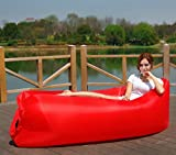 Inflatable Lounger Portable Air Couch, Air Sofa Bag, Indoor or Outdoor Inflatable Chair, Inflatable Lounge for Camping Beach Park and Backyard (Red)