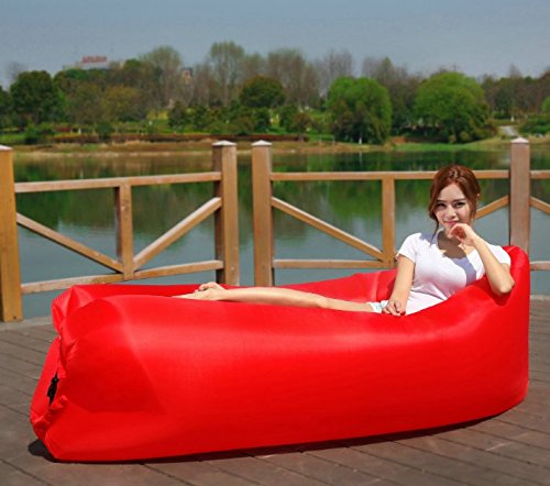 Inflatable Lounger Portable Air Couch, Air Sofa Bag, Indoor or Outdoor Inflatable Chair, Inflatable Lounge for Camping Beach Park and Backyard (Red) by Unknown