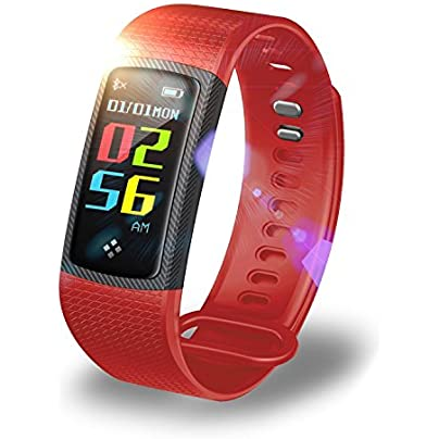 Zhangmeiren Fitness Tracker Color Screen Bluetooth Wristband Smart Fitness Tracker Blood Pressure Heart Rate Sleep Monitor Color Red Estimated Price -