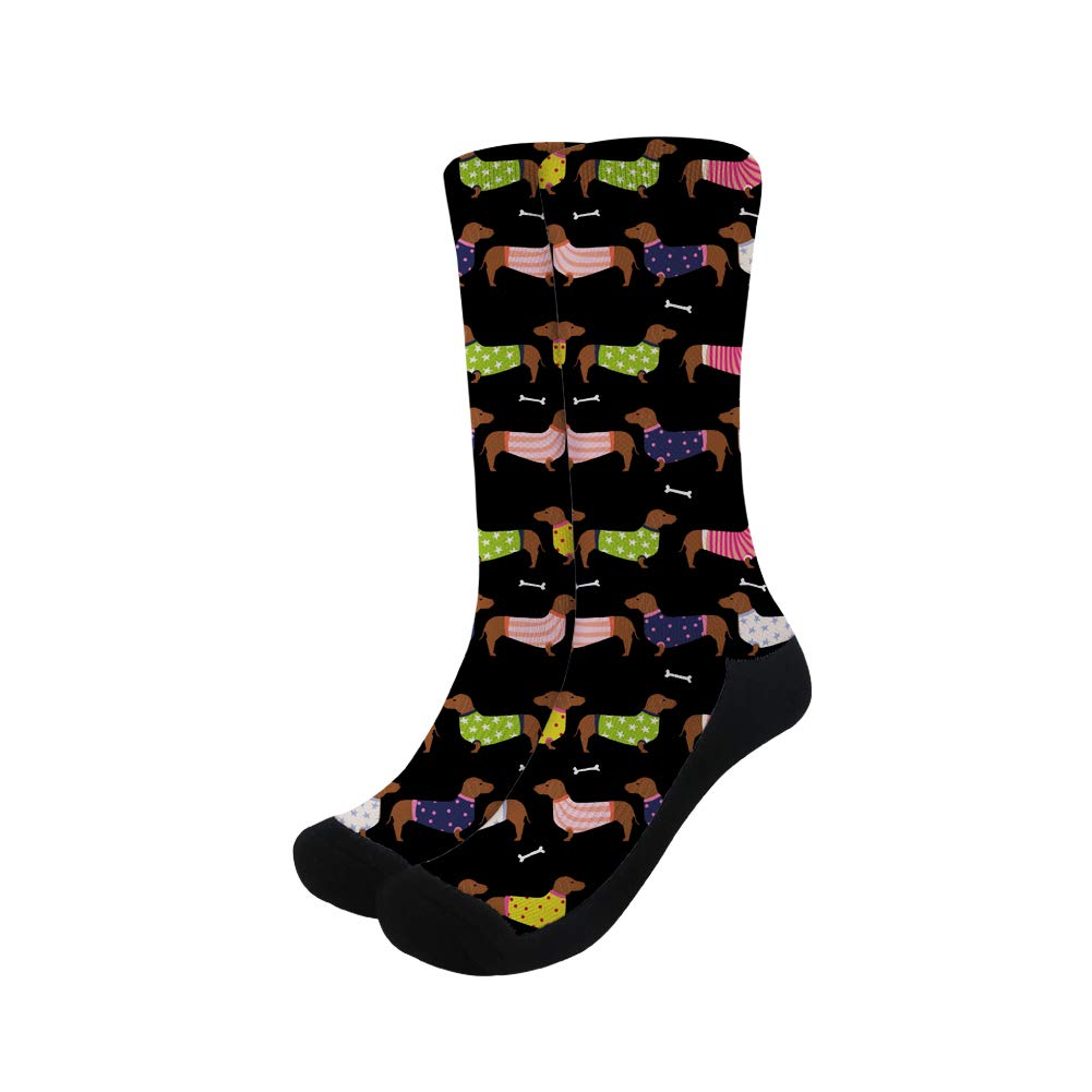 Instantarts Cute Crazy Animal Boston Terrier Dog Crew Socks Soft Cozy Dress Sock