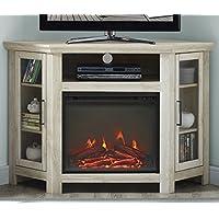 WE Furniture 48' Wood Corner Fireplace Media TV Stand Console - White Oak