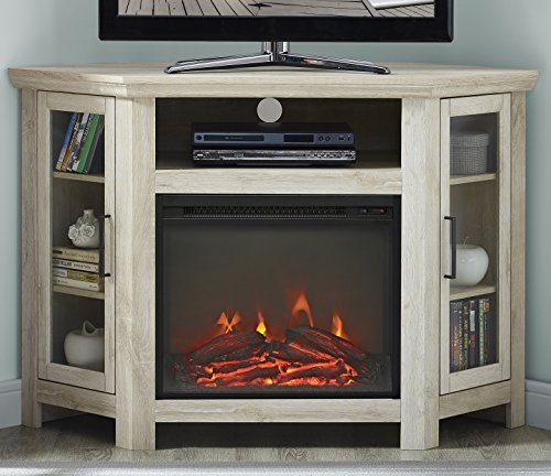48 Corner Tv Stand White Oak Farmhouse Electric Fireplace