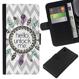 Patrón Hola Indian Feather Chevron- la tarjeta de Crédito Slots PU Funda de cuero Monedero caso cubierta de piel Para Sony Xperia Z1 L39