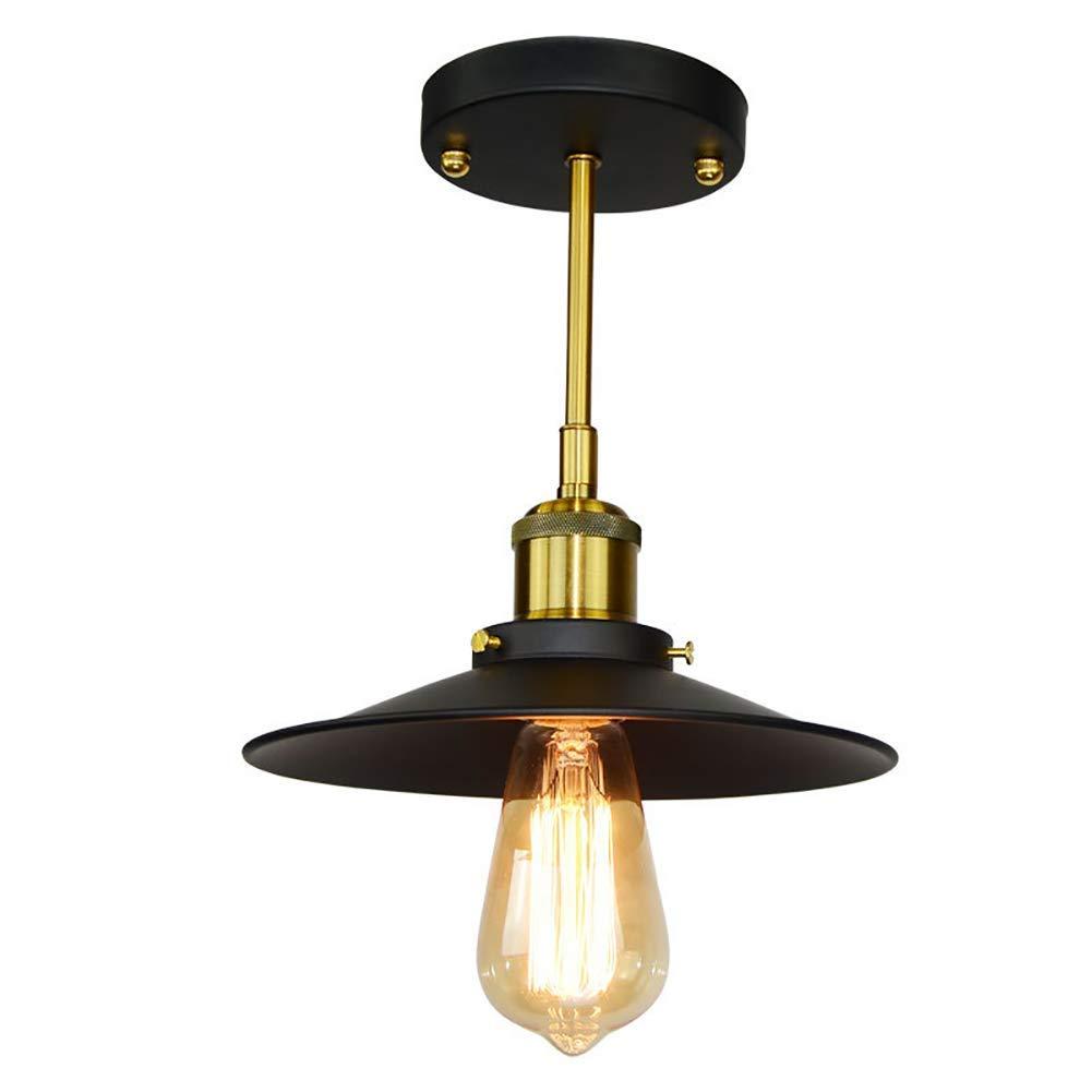 インダストリアルスタイルのシャンデリア、ヴィンテージ吊り天井灯インテリアポーチ天井備品E27を引込め, Black B07TFH5GMK