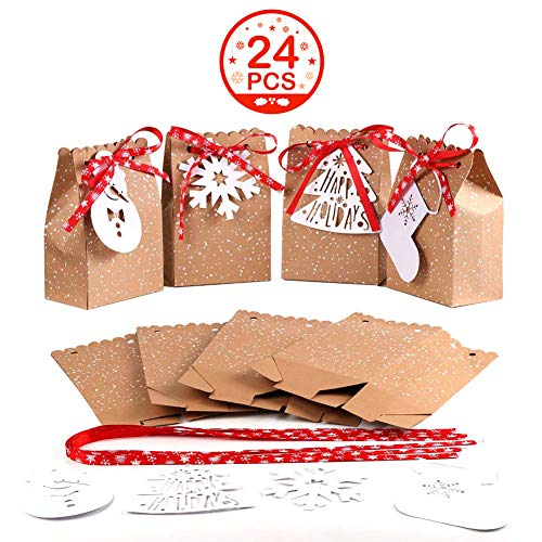 (OurWarm 24pcs Christmas Gift Bags Assortment Kraft Paper Favor Bags with Holiday Gift Tags for Christmas Party Supplies, 5 x 3 x 7 Inch Christmas Goodies Bags)