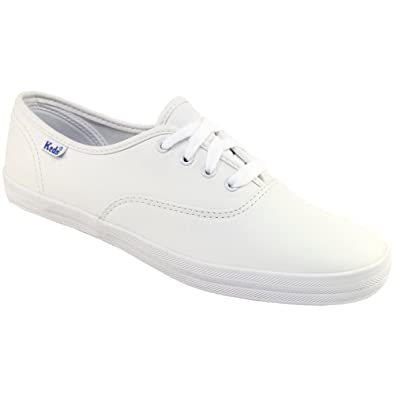 accaddd07a6 Keds Womens Leather Champion Lace Up Flat Trainers White  Amazon.co ...