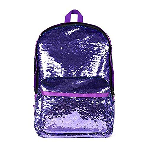 Starte Kids Glitter Mermaid School Bookbag Magic Flipable Sequin Backpack Sparkly Lightweight Travel Bag for Women Girls Boys,Purple