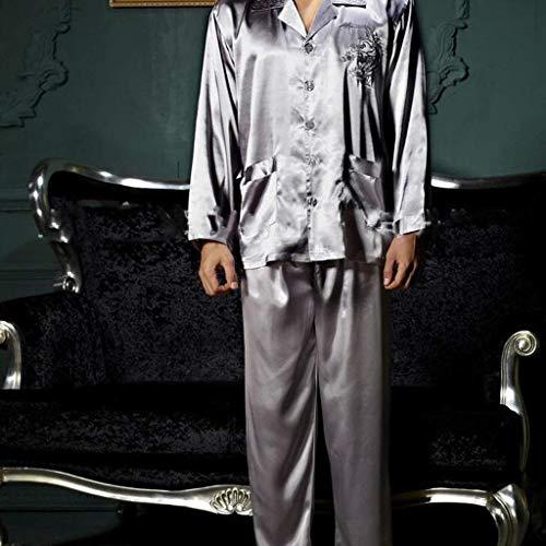 tasche lunga Tracksuit tre da pantaloni estate primavera Large con pezzi Completo manica Accappatoio pigiama fionde pigiama amanti femminili Poliestere autunno con pantaloni in X cotone e argento top con 4wXB54qr