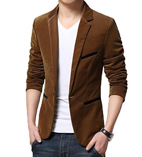 Mirecoo Men's Slim Fit One Button Blazer Corduroy Suits Smart Formal Velvet Dinner Suits Jacket Size XS-XL