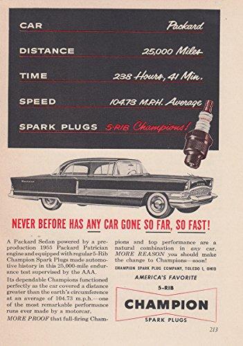 1955 Champion Spark Plugs: Any Car Gone So Far So Fast, Champion Print Ad