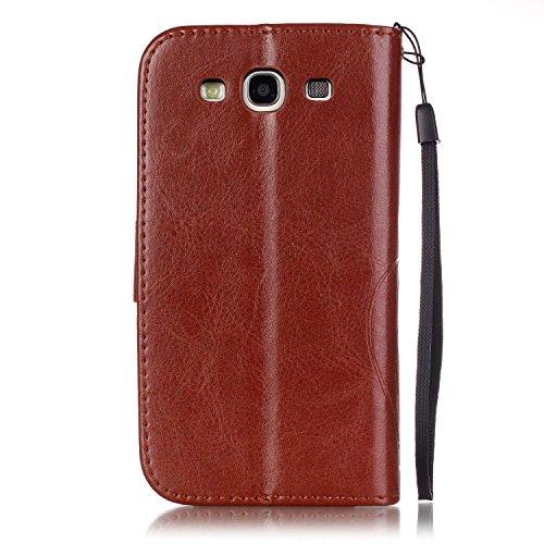 JIALUN-Personality teléfono shell Samsung S3 caja de flores en relieve, cierre magnético PU sintética cubierta de la caja con cuerda colgante y función de la cartera para Samsung S3 Seguridad y Moda ( Brown