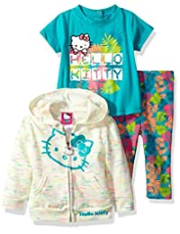 Hello Kitty girls 3 Piece Hooded Legging Set With Yarn Dye Stripe