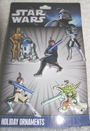 Star Wars Set of 5 One Sided Mini Christmas Ornaments