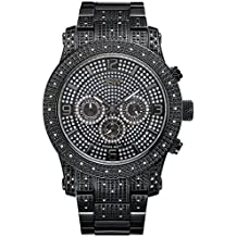 JBW J6336A Lynx Swiss-Quartz Multi-Function Movement Diamond Stainless Steel Men's Wrist Watch, Black