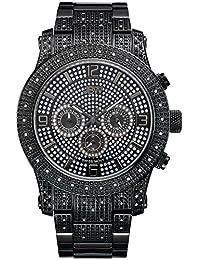 JBW J6336A Lynx Swiss-Quartz Multi-Function Movement Diamond Stainless Steel Men's Wrist Watch, Black