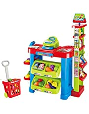 Kids Shopping Play Set with Shopping Trolley and Cashier Fun