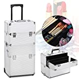 Gotobuy Aluminum Makeup Case Salon Cosmetic Train Trolley Maquillaje Profesional Makeup Organizer,Silver