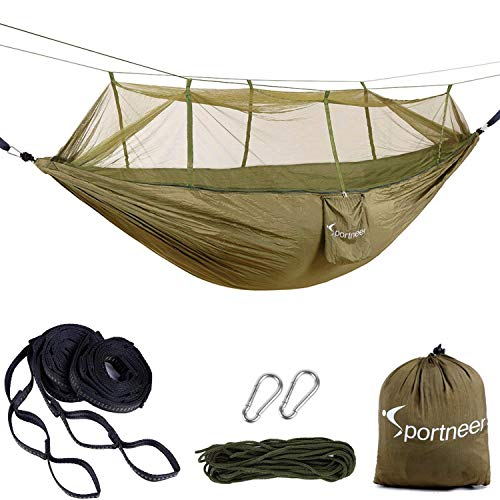 Camping Hammock with Mosquito Bug Net, Sportneer Double Parachute Fabric Portable Backpacking Hammocks with Tree Strap For Camping, Hiking, Backyard and Travel