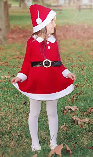 Lilax Girls Christmas Santa Holiday Dress with Hat & Belt