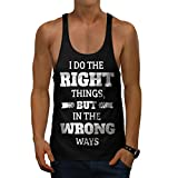 Right Things Wrong Funny Men M Gym Tank Top   Wellcoda