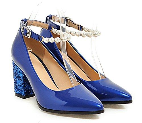 Easemax, Donna Elegante Alla Caviglia Con Cinturino Alla Caviglia E Tacco Medio, Scarpe Con Tacchi Da Sposa, Scarpe Blu