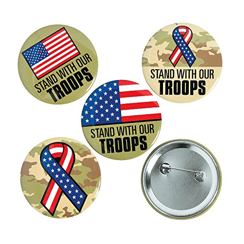 Fun Express - Support Our Troops Buttons - Jewelry - Pins - Novelty Buttons - 12 Pieces