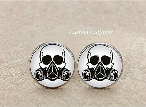 Amethyst Silver Plated Cufflinks - Mask Cufflinks, Silver Plated Cufflinks, Gas Mask Cufflinks, Steampunk Cufflinks, Hand made cufflinks, Cufflinks Gas Mask, men's cufflinks