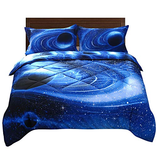 - ENJOHOS 3D Blue Galaxy Outer Space Comforter Set for Kids Full Size Universe Quilt Bedspread Bedding Gift 3 PCS