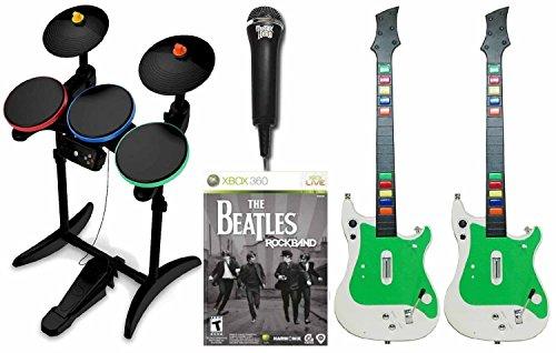 XBox 360 Rock Band BEATLES Game w/2 x GUITAR/Wireless Drums/Mic Bundle - Guitar Drums Mic