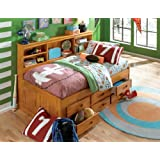Discovery World Furniture Twin Daybed Bookcase with 6 Drawers, Entertainment Dresser in Honey Finish