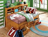 Twin Daybed Bookcase with 6 Drawers, Desk, Hutch, Chair and Bookshelf in Honey Finish