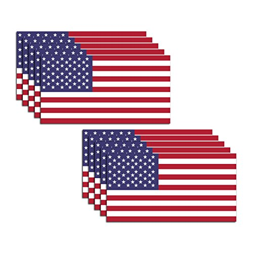 10 Pack of New USA American Flag Vinyl Decal Army Navy Military Country Stickers Car Truck 2