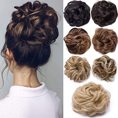 Hair Extensions Haarverlängerung Haarteil Haargummi Hochsteckfrisuren unordentlicher Dutt Gewellt Ombre Dunkelbraun
