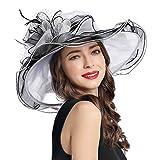 Women's Organza Church Derby Fascinator Cap Kentucky Tea Party Wedding Hat (11A-White)