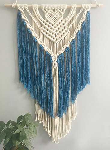 (Youngeast 100% Handmade Boho Macrame Wall Hanging Home Décor Art Home Décor,31 x 16 Inches Blue)