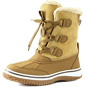 DailyShoes Women's Lace Up Ankle High Mid Calf Artic Warm Fur Water Resistant Eskimo Snow Boots, 11