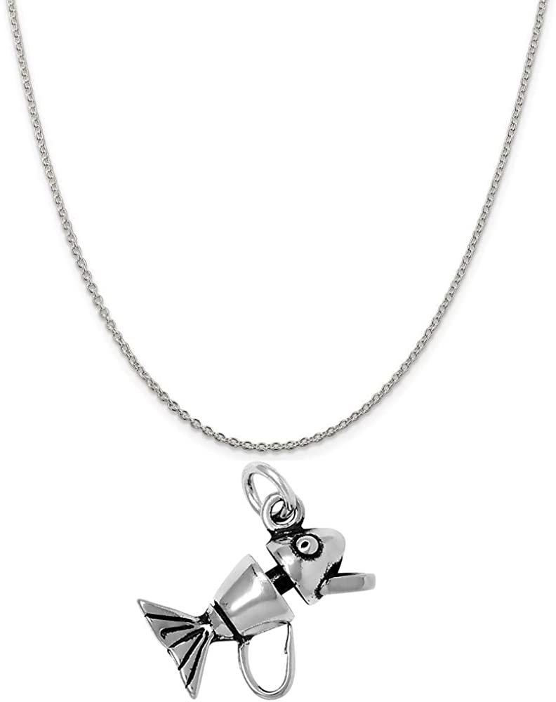 Raposa Elegance Sterling Silver Fishing Lure Charm on a Sterling Silver 18 Cable Chain Necklace