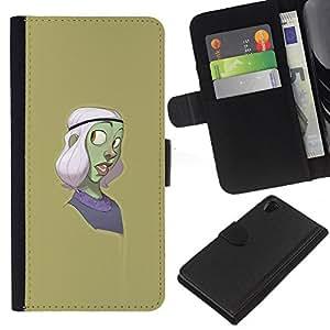 ZCell / Sony Xperia Z2 D6502 / Green Character Cartoon Purple / Caso Shell Armor Funda Case Cover Wallet / Verde carácter dibujo animado