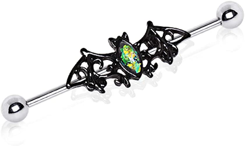 Pierced Owl Double Synthetic Opal Stone 316L Stainless Steel Industrial Barbell