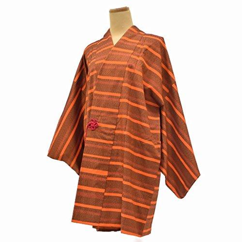 規制する待ってドット着物 コート 中古 リサイクル 化繊 道中着 横縞文様 裄68cm はおり オレンジ系 ll0631c