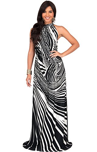 KOH KOH Petite Womens Long Halter Neck Sleeveless Sexy Spring Summer Print Printed Casual Flowy Empire Party Maternity Sundresses Gown Gowns Maxi Dress Dresses, Black and White S 4-6 (1)