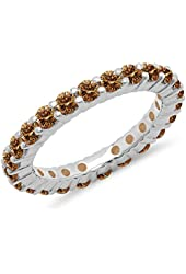 1.00 Carat (ctw) 10K Gold Round Champagne Diamond Eternity Wedding Anniversary Stackable Band 1 CT