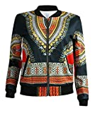 M&S&W Women's Classics Zip up Painting African Style Bomber Jacket Outwear Coat 6 L